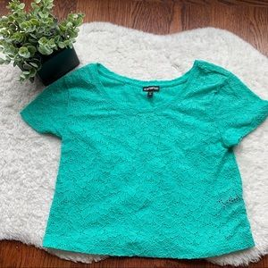 EXPRESS Mint Green Short Sleeve Cropped Lace Top